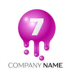 number seven splash logo purple dots and bubbles vector image vector image
