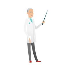 senior caucasian doctor holding pointer stick vector image
