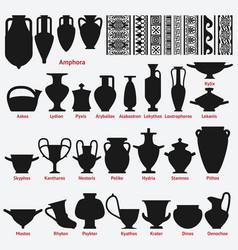 set of antique greek vases and border decoration vector image