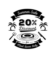 twenty percent discount for meat lover logo vector image