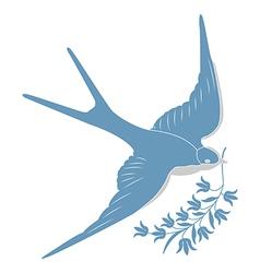 blue swallow vector image vector image