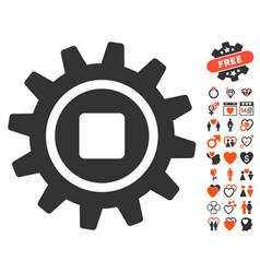 cog icon with valentine bonus vector image vector image