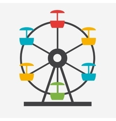 Ferris Wheel Icon Silhouette Entertainment Round vector image