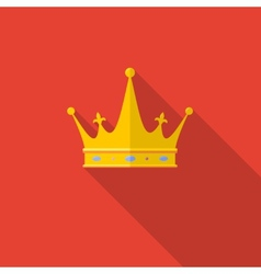 Golden crown on red background with long shadow vector image vector image