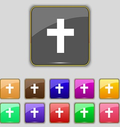 religious cross Christian icon sign Set with vector image vector image