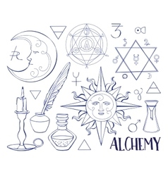 Set of trendy Alchemy symbols vector image vector image