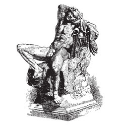 the barberini faun or drunken satyr was found in vector image vector image