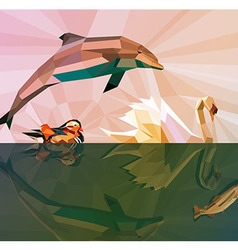 Water is our LIFE - Low Poly Animals vector image