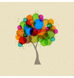 Abstract Tree With Colorful Splashes vector image vector image
