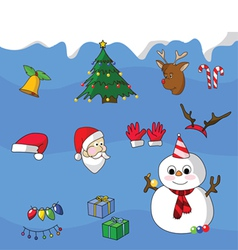 Colorful Christmas icons vector image