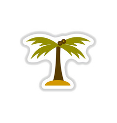 Labels with shadow flat icon palm tree silhouette vector