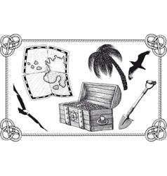 set of pirate treasure vector image