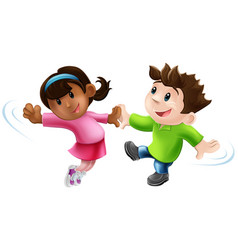 two cartoon dancers dancing vector image vector image