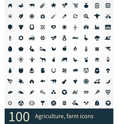 100 agriculture farm icons vector image