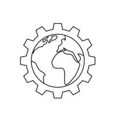 planet inside the gear line icon vector image