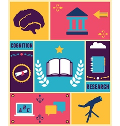 Retro poster of education vector