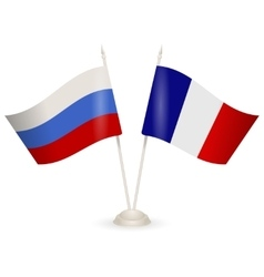 Table stand with flags of Russia and France vector image vector image