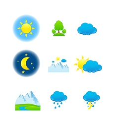 weather nature icons vector image vector image