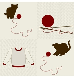Wool objects kittens and seamless backgrounds set vector image