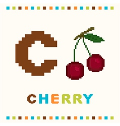 Alphabet for children letter c and a cherry vector