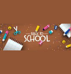 Back to school 3d papercut kid supplies wood desk vector