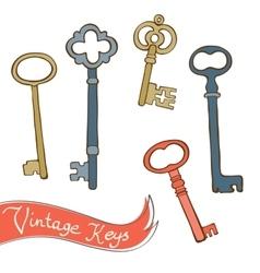 Baeutiful hand drawn vintage keys collection vector
