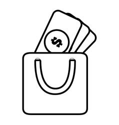 Bag gift money dollar paper shop line vector