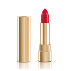 beautiful red lipstick with lid in gold makeup vector image