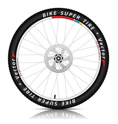 Bicycle wheel with a best sports tire on white vector