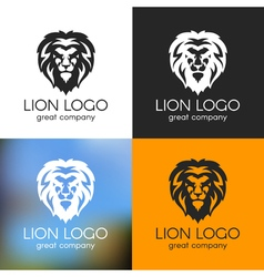 Black and white lion logo on various backgrounds vector