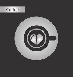 black and white style icon coffee heart vector image