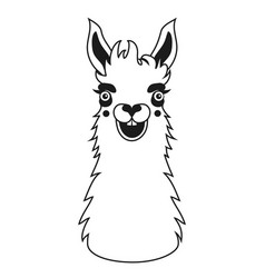 Black and white with smiley face llama vector