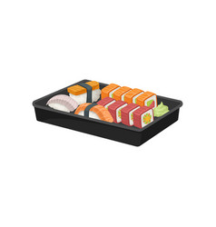 Black plastic tray with set of sushi rolls vector