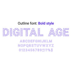 blue handmade font in the outline style vector image