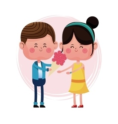 boy giving flower girl love card vector image