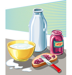 Breakfast of bread jam and a cup of milk vector