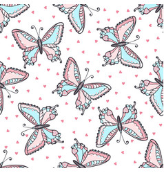 butterflies seamless pattern in doodle style hand vector image vector image