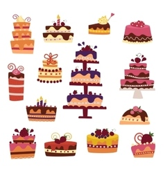cake collection isolated on white vector image vector image