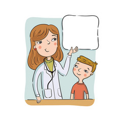 Children doctor shows to the boy on the poster vector