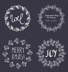 Christmas wreath drawn set vector