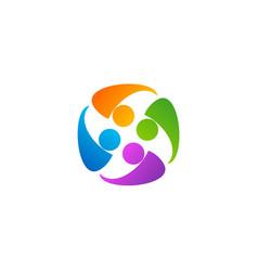 circle teamwork logo people group symbol icon vector image