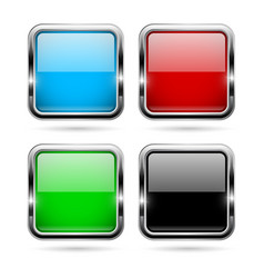 Colored glass 3d buttons with chrome frame square vector