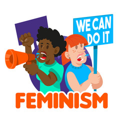 Crowd women feminist vector