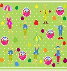 Cute Easter seamless with bunnies and eggs vector image