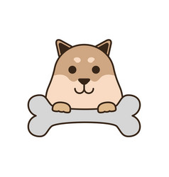 Cute little dog bulldog with bone fill style icon vector