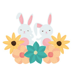 cute rabbits with floral decoration character vector image