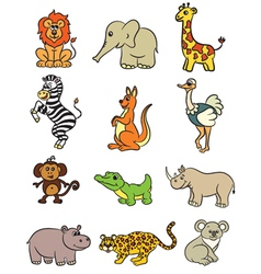 Cute zoo animals collection vector image