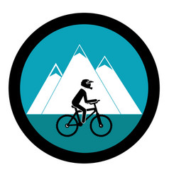 Cycling sport emblem icon vector