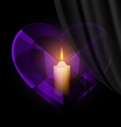 dark heart-crystal and candle vector image vector image