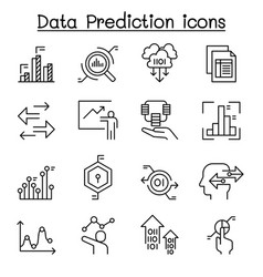 Data prediction icon set in thin line style vector